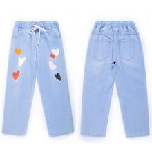 Сердце печати Свободные джинсы-шаровары Для женщин эластичный пояс Штаны Для женщин