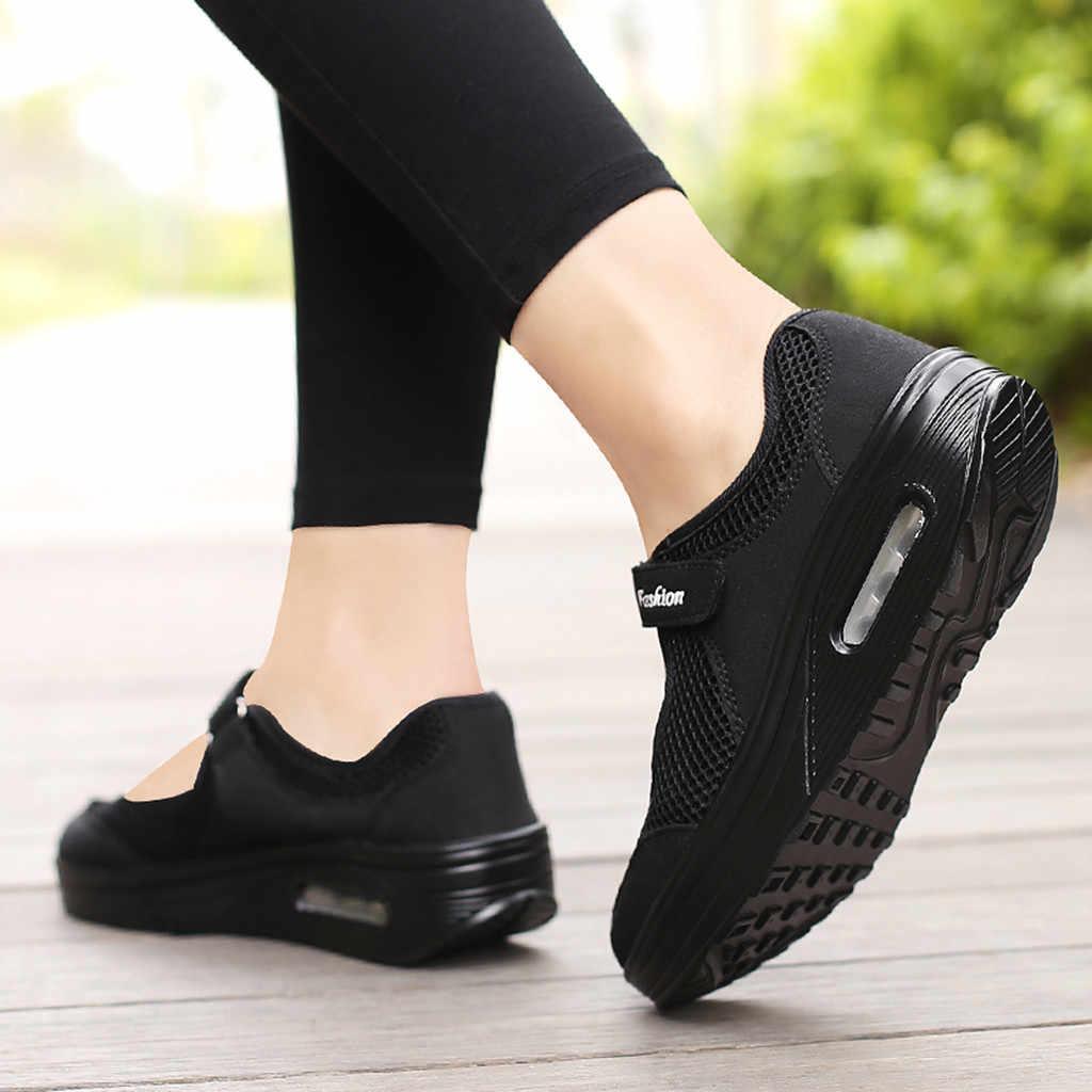 2019 ผู้หญิงปั๊ม Hook และ LOOP ฤดูใบไม้ผลิฤดูร้อนใหม่รองเท้าสบายๆแพลตฟอร์มน้ำหนักเบารองเท้าแฟชั่น Loafers
