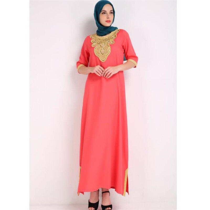 883fe710afc02 US $23.37 43% OFF Dubai Dresses Evening Abaya Maxi Dress Muslim Women  Islamic Robe Kaftan Moroccan Embroidery Modest Dress-in Islamic Clothing  from ...