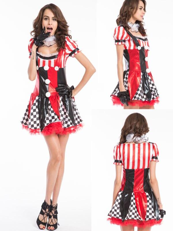 gratis pp disfraces de halloween para adultos divertido para mujer trajes de payaso travieso harlequin de
