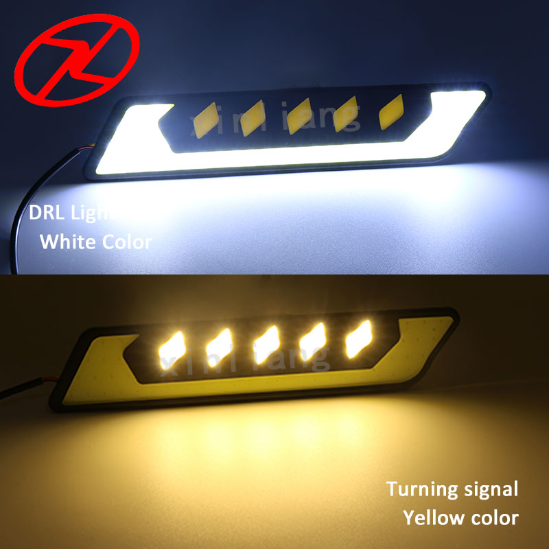 2Pcs Waterproof External COB Fog Lamp Cars Auto LED DRL Daytime Running Driving Lights Yellow turn signal Lighting 12V
