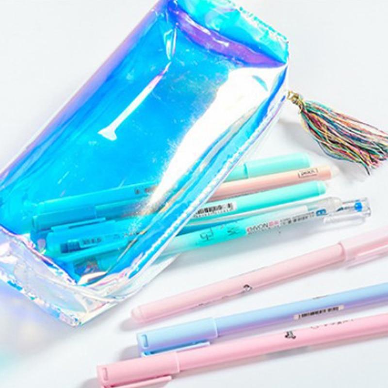 19.5 X 8 Cm Pencil Case Quality Pu Transparent Hologram Holographic Pencilcase Makeup Bag School Supplies Stationery Gift 100% High Quality Materials