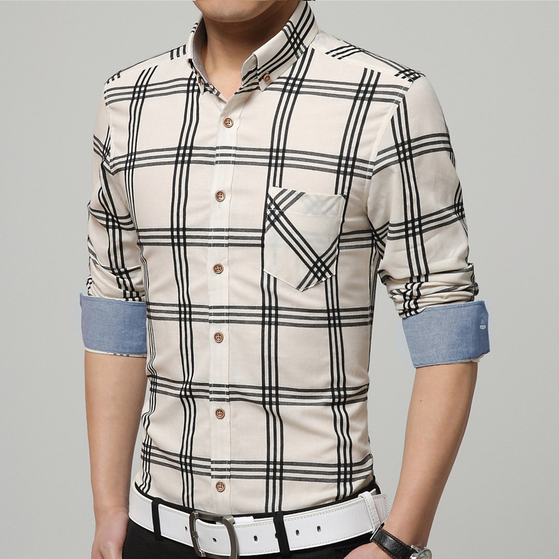 2015 latest design men's classic plaid striped shirt casual tops ...