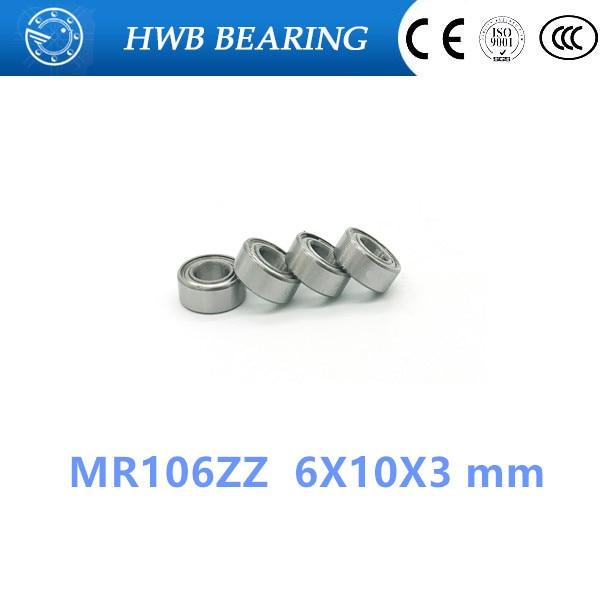 Free Shipping 10pcs MR106ZZ  6X10X3 mm  metal shielded steel ball bearing Deep groove Ball Bearings MR106 / L-1060 ZZ 10pcs 5x10x4mm metal sealed shielded deep groove ball bearing mr105zz