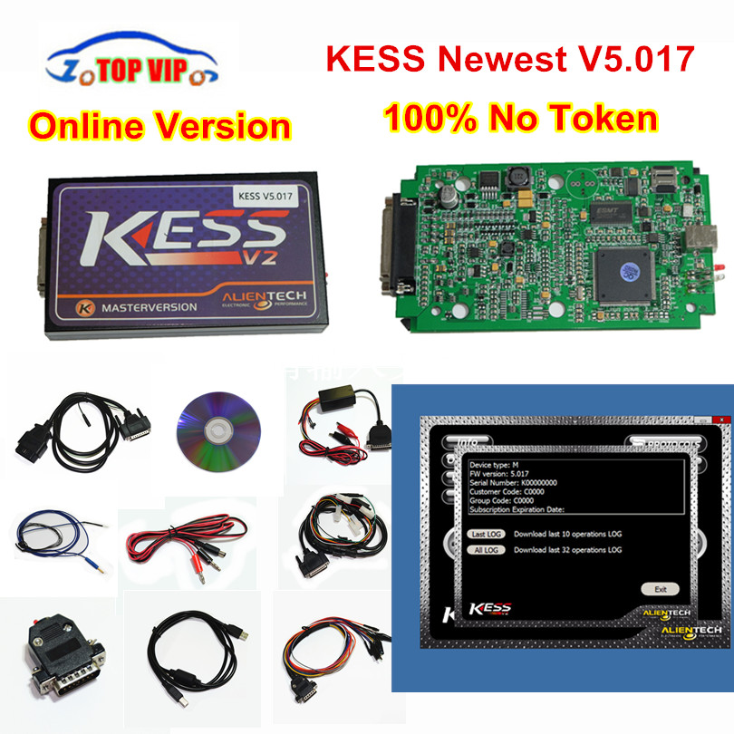Newest KESS FW 5.017 100% No Tokens Limited Online Kess v2 V2.23 FW 5.017 OBD2 Manager Tuning Kit Master ECU Programmer DHL Free цены