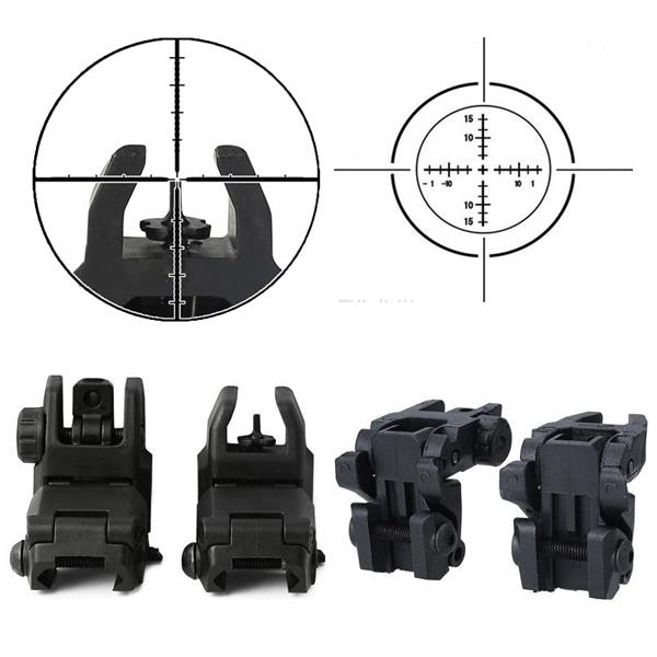 Tactical Folding Front Rear Sight Flip Up Backup Sights BuiS Set Hunting Accessories