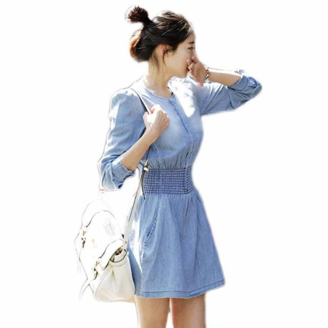 Hot For Spring 2017 Vintage Ladies Long Sleeved Casual Denim Mini Dress