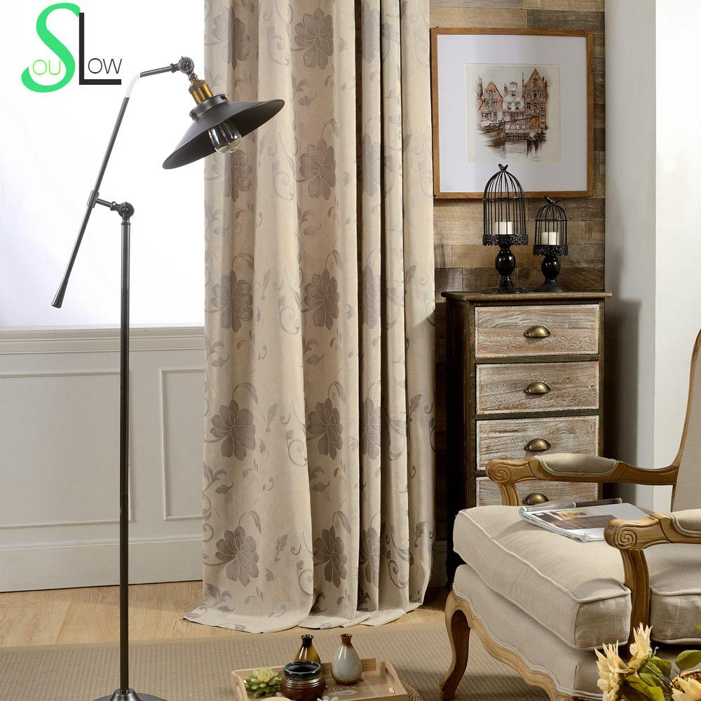 Luxury Jacquard Curtains Linen Cotton Floral Quality Curtain Cortina