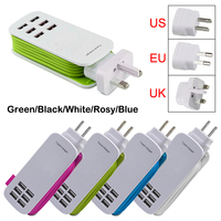 Universal 6 Way Multi USB Mobile Phone Hub Charger Extension Cord Desktop Stand Wall Powerful Cabled