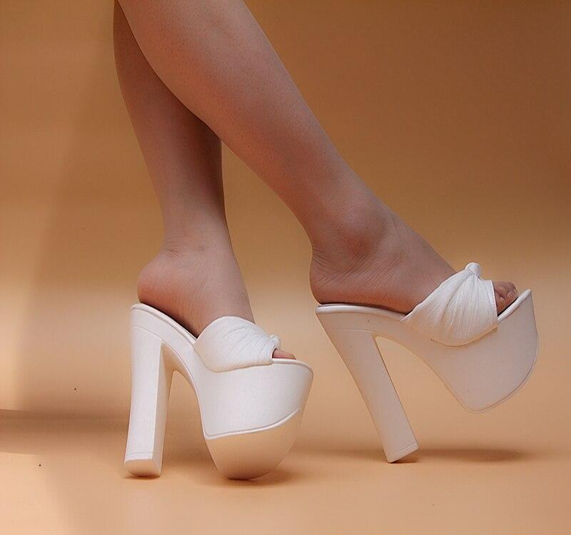 High-heeled slippers female fashion thick heel platform gauze sandals white drag 2015
