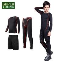 Kids Boy Training Jogging Suits Running Tracksuit Sports Gym Wear Clothing Men Fitness Tights Children Leggings Compression Sets