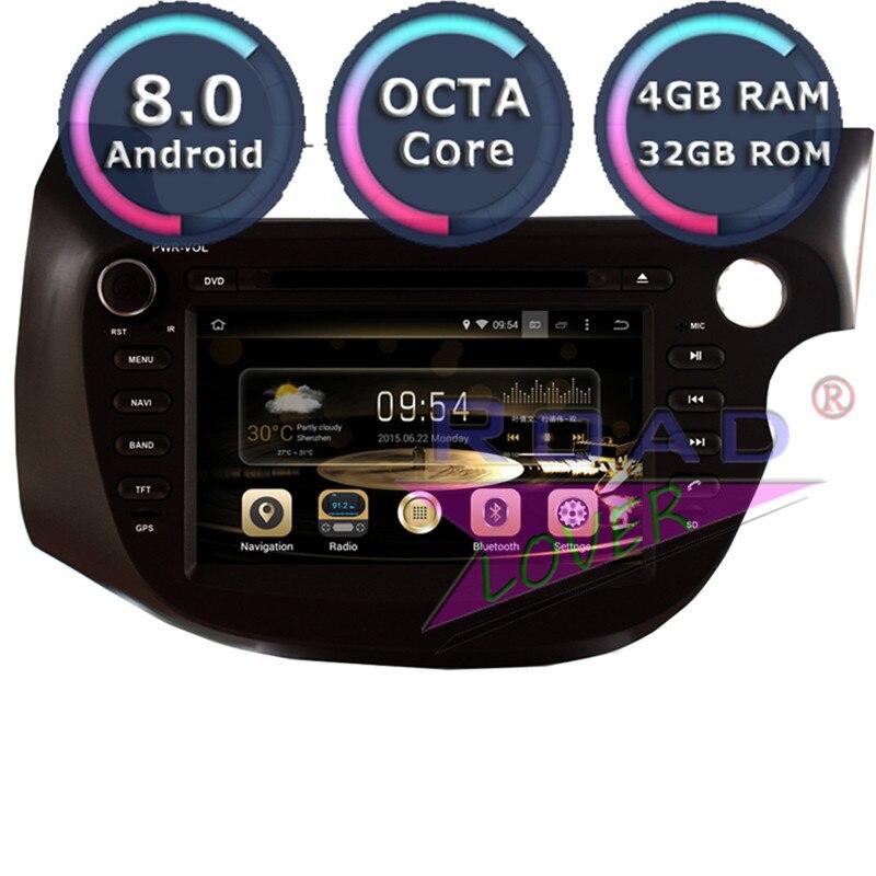 Lecteur DVD multimédia de voiture Android 8.0 pour Honda Fit Jazz 2007-RHD stéréo GPS Navigation Automagnitol 2Din Radio