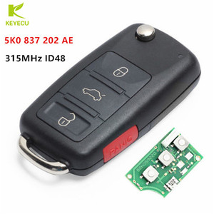 KEYECU Replacement Upgraded Flip Remote Key Fob 315MHz ID48 for VW Volkswagen Beetle Jetta Eos Golf Tiguan GTI 5K0 837 202AE