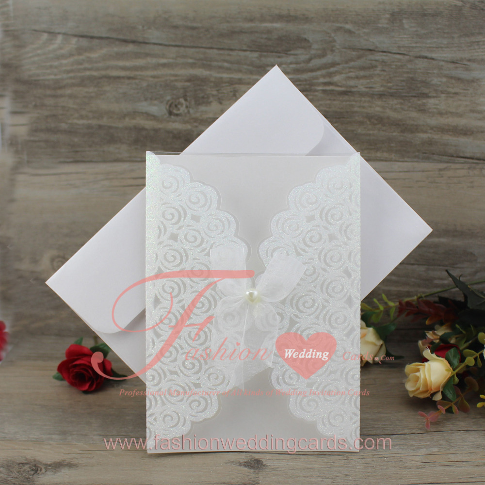 60 pcslot elegant white pvc wedding invitation card with