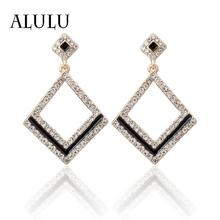 ALULU Classic Rhinestone Women 's Drop Earrings Oil Square Dangle Earring Plated Gold / Silver Long Earrings Brincos