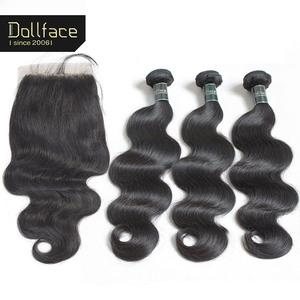 Human-Hair-Bundles Closure Dollface with Peruvian Body-Wave Remy-Hair Weave 3