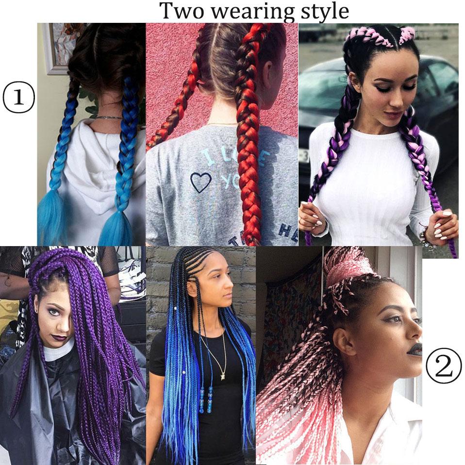 Person - Long Ombre Synthetic Braiding Hair Brazilian Pink Blue Grey Purple Crochet Jumbo Braids Hair Extensions