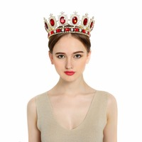 2016 New Royal Crown Gold Or Silver Plated Rhinestone Ruby Tiara Super Large Queen Crown Headwear