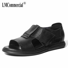 купить Summer anti-skid Genuine Leather sandals male Open toe breathable Roman sandals cowhide casual Beach mens shoes Slippers дешево