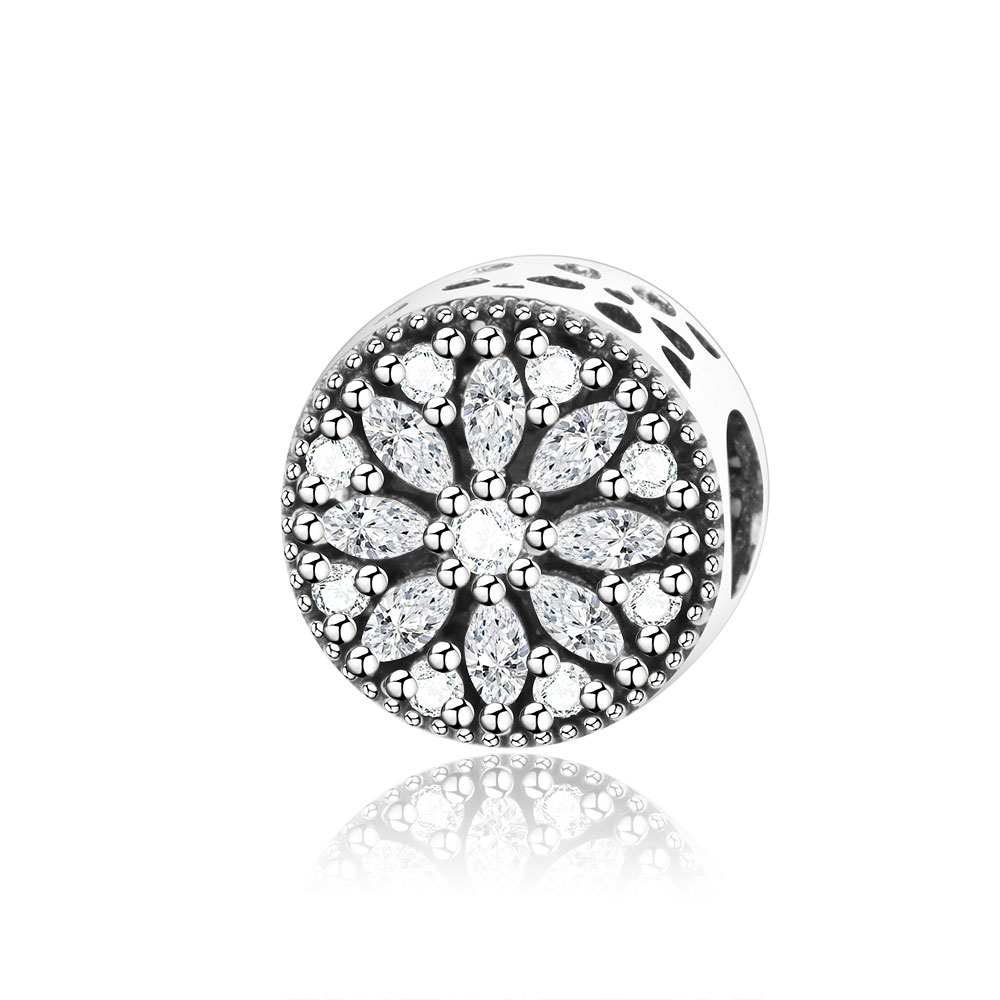 New Design Snowflake Charms Beads With Clear CZ Fits Original Pandora Charm Bracelet DIY Jewelry 925 Sterling Silver Round Beads