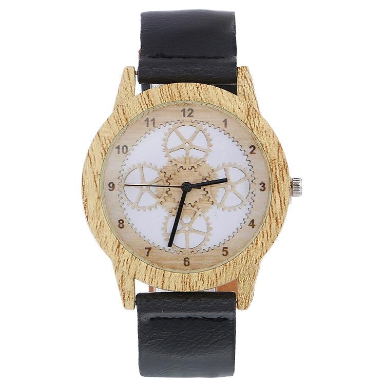 2020 Hollow Gear Wood Watch Unisex Men Fashion Business Casual Women Watch Leather Strap Quartz Watch Christmas Gift Watch