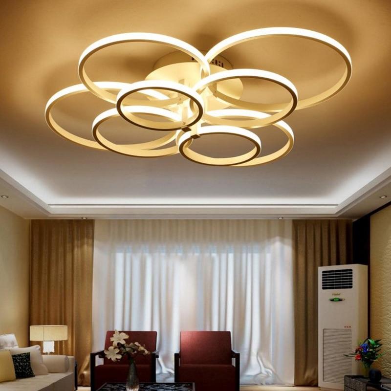 Modern LED Ceiling Lights For Living Dining Room AC85~260V White PC Shade Ceiling Lamp Ring Shape Home Decor Lighting Fixtures