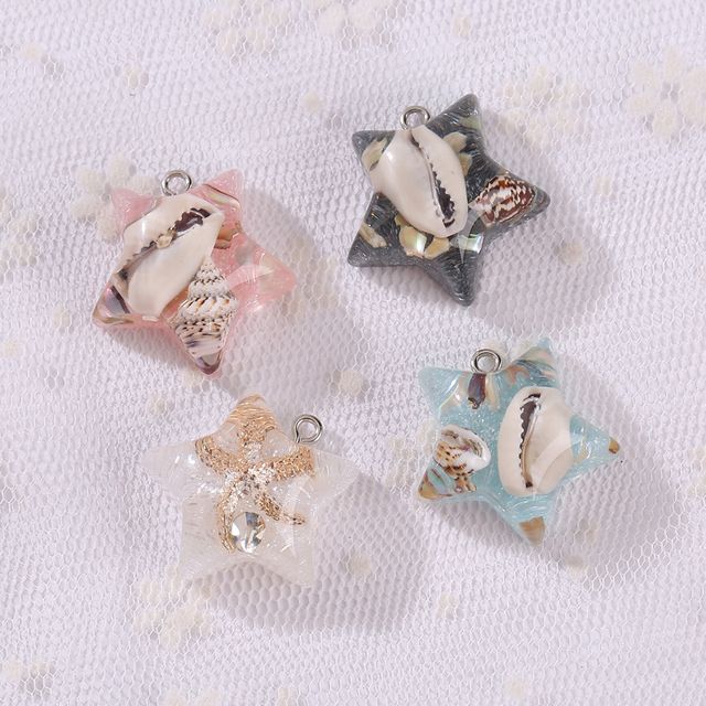 12pcs Resin Star With S Flat Back Earring Charms Very Cute Keychain Pendant Necklace For