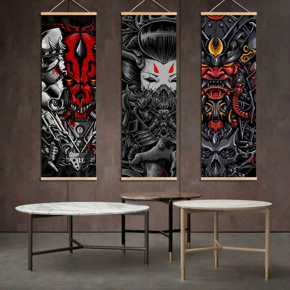Japanese Abstract Poster Canvas Paintings Black Death Industrial Print Scroll Wall Art Pictures Living Room Farmhouse Decoration