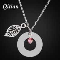 Qitian Hand Stamped Jewelry Leaf Charm With Glass Bicone Beads Custom Name Necklace Personalized Necklace For
