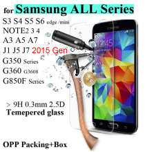 0.26mm Tempered Glass for Galaxy S3 S4 S5 S6 mini covr case Screen Protector SM Film for Samsung J5 J7 2015  with Clean tools