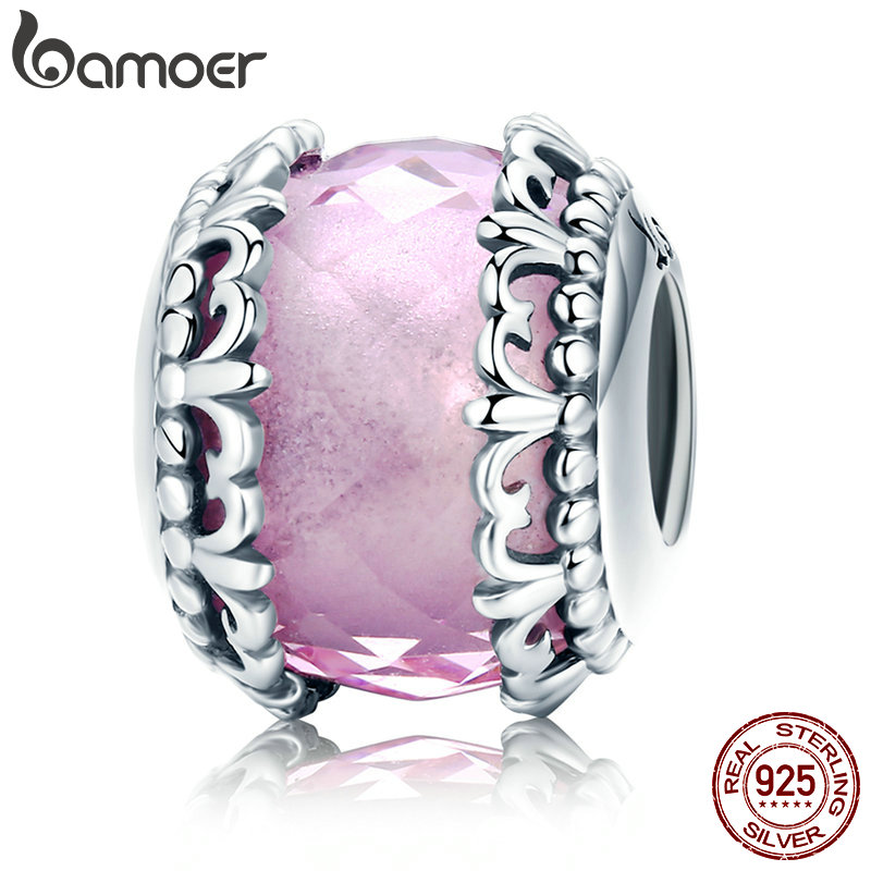 BAMOER 100% 925 Sterling Silver Romantic Flower Pave Pink CZ Charm Beads fit Charm Bracelet & Bangles DIY Jewelry Making SCC711 bamoer romantic new 925 sterling silver i love you forever engrave spacer beads fit charm bracelet & bangles diy jewelry scc595