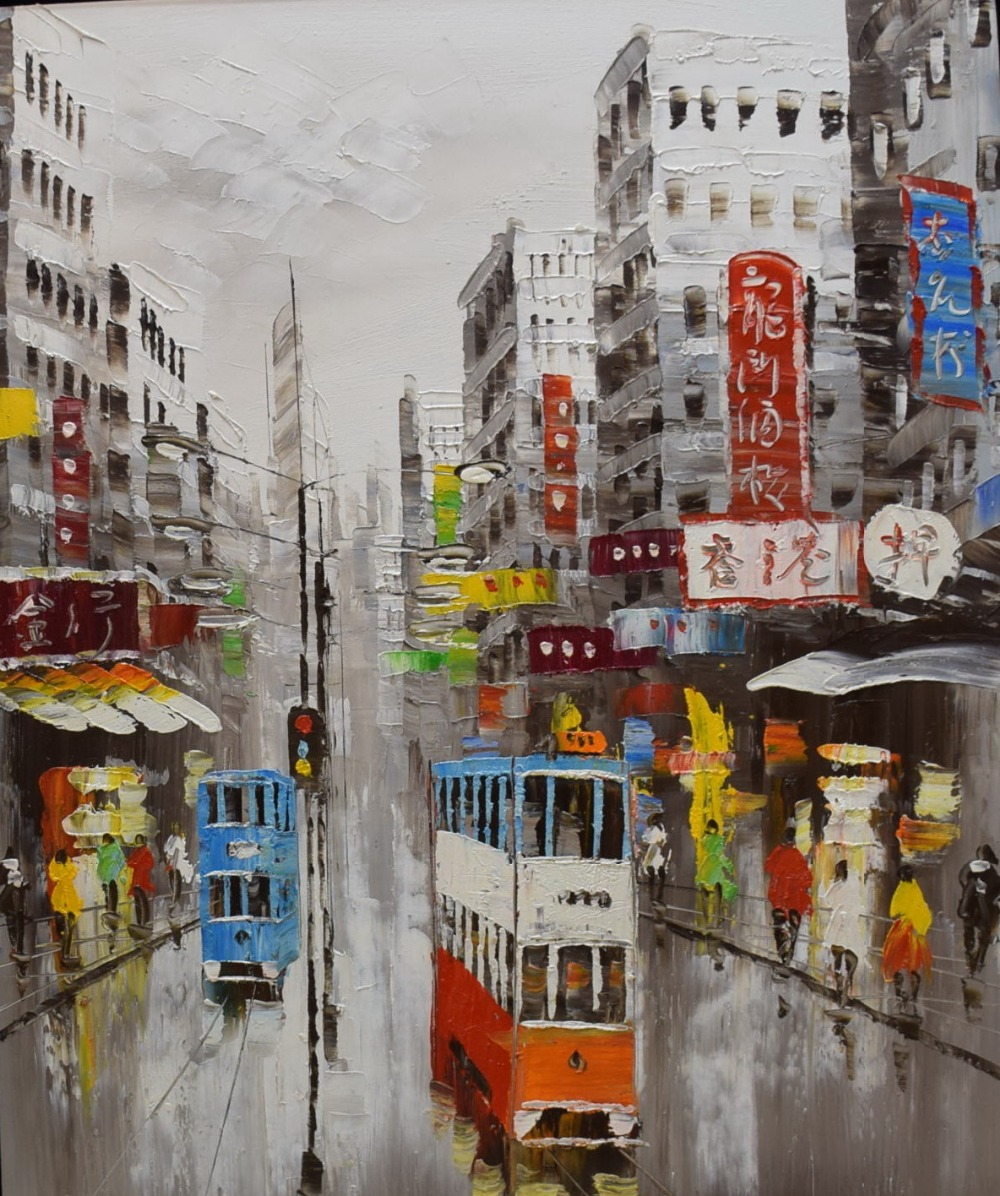 100% håndmalt kniv oljemaleri på lerret abstrakt Hong Kong trikker Street Canvas Paint Wall Art Picture for Home Decor