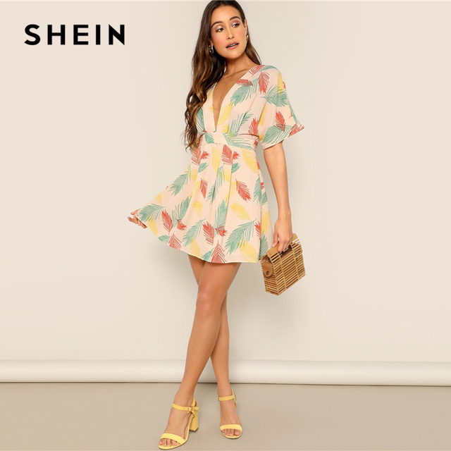 SHEIN Plunge Neck Tied Open Back Tropical Dress Deep V Neck Fit and Flare Women Dresses 2019 Short Sleeve Summer Dress 2