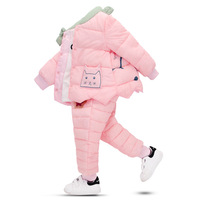 Autumn and Winter New Children's Down Set Children's Cotton Suit Girls Baby Liner Trousers Jacket Down Cotton Two piece