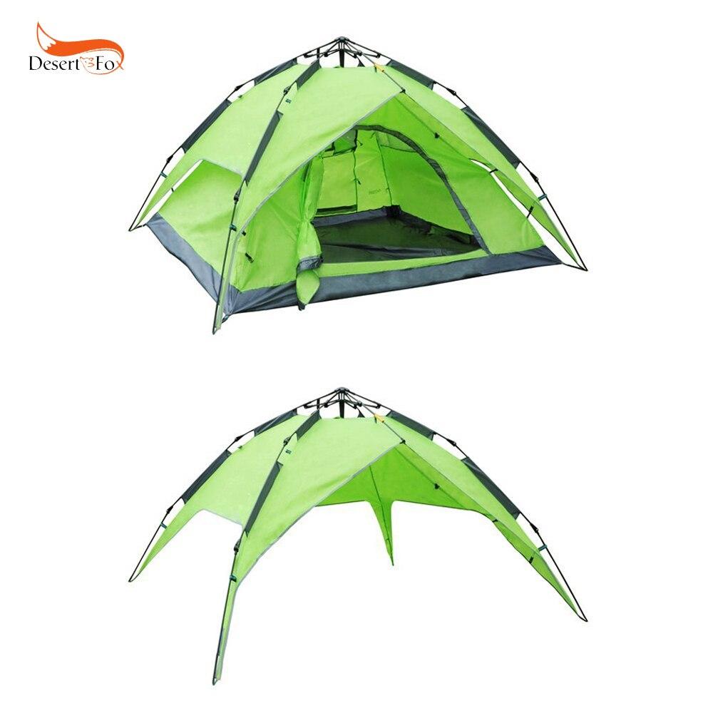Tente 3 couleurs 3-4 personnes Auto-construction Double couche imperméable coupe-vent quatre saisons tente Camping en plein air randonnée