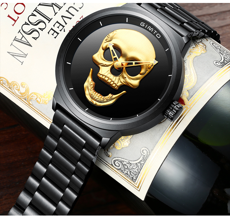2018 Cool Punk 3D Skull Men Watch Brand GIMTO Luxury Steel Gold Black Vintage Quartz Male Watches sport clock Relogio Masculino 17