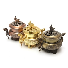 1pc Vintage Design Tibetan Style Mini Alloy Bronze Incense Burner Censer Metal Craft Home Decor Buddhist Living Room Supplies