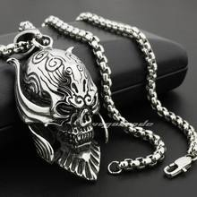 316L Stainless Steel 18″ ~ 36″ Big king Vampire Demon Skull Pendant 4D024 Smlal Size Necklace 24″
