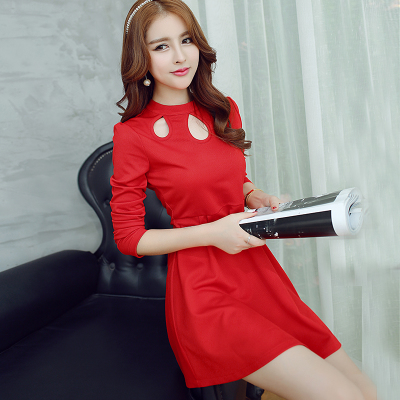 new arrival stylish young lady girl long sleeve red dress