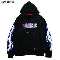 Liumaohua brand Men Hoodie Sweatshirt Cool Lightning 3D Print Hoodie Streetwear Hip Hop Casual Black Pullover