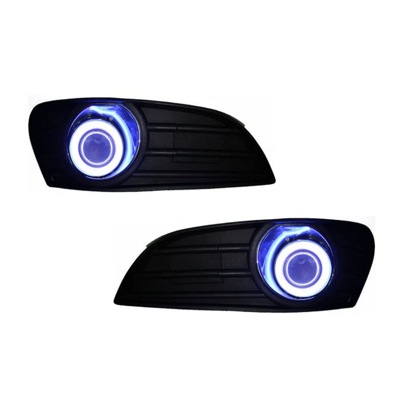 Car Styling For Geely MK Cross White Angel Eyes DRL Yellow Signal Light H11 Halogen / Xenon Fog Lights Projector Lens E13 car styling for volkswagen polo 2006 2010 led angel eyes drl yellow signal light h11 halogen fog lights with projector lens