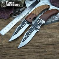LCM66 Tactical Folding Pocket Knife Steel Blade Wood Handle 3D blade pattern Huntting Fishing fruit knife Outdoor knife tool