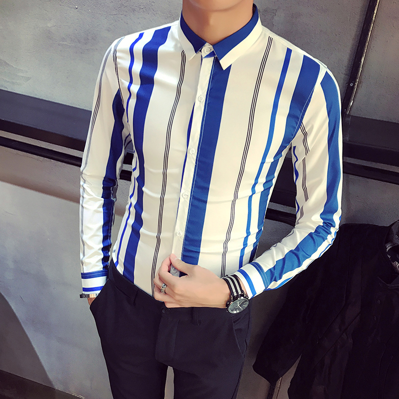 High Quality Spring New Shirt Men 2018 Slim Fit Striped Tuxedo Shirt Long Sleeve Casual Work Shirt Social Male chemise homme 2XL