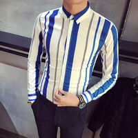 High Quality Spring New Shirt Men 2019 Slim Fit Striped Tuxedo Shirt Long Sleeve Casual Work Shirt Social Male chemise homme 2XL