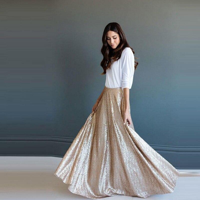 Elegante Dazzling Lantejoulas Maxi Saias Longas Para Mulheres A-line Até O Chão Saia de Moda Custom Made High End Roupas Brilhantes