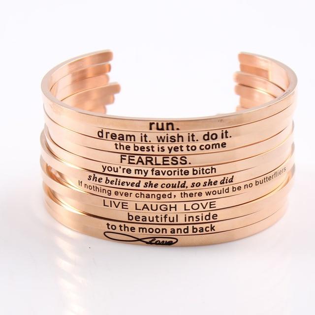 2017 Hot Rose Gold Mantra Bracelets Stainless Steel Inspirational