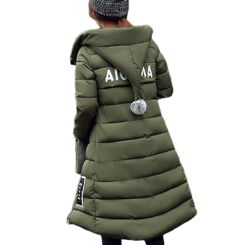 ФОТО Parkas for Women Winter Plus Size 2016 New Fashion Thick Student Long Hooded Fur Top Cotton Padded Jacket Coat Female LH429