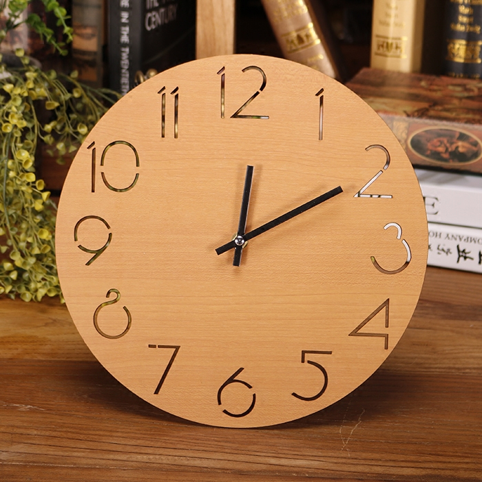 Round Wall Clock Wooden Digital Large Decorative Wall ...