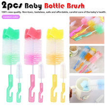 Random color 2pc The baby bottle brush wash nipple tool sponge cleaning kit products wholesale