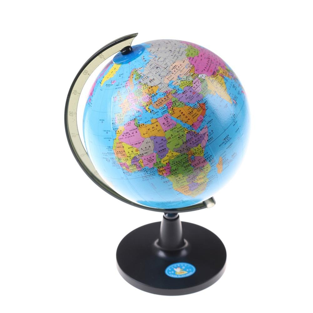 14.2cm World Map Globe School Geography Teaching Tool Kids Educational Toy With Swivel Stand diy scratch globe 3d stereo assembly globe world map travel kid child toy gift geography teaching apparatus